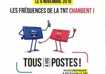 L'ANFR communique – Changement de fréquences de la TNT à partir du 6 novembre 2018