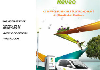 BORNE ÉLECTRIQUE REVEO PARKING DE LA MEDIATHEQUE EN SERVICE.