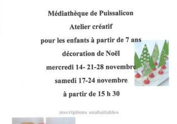 Atelier créatif de noël Médiathèque de Puissalicon