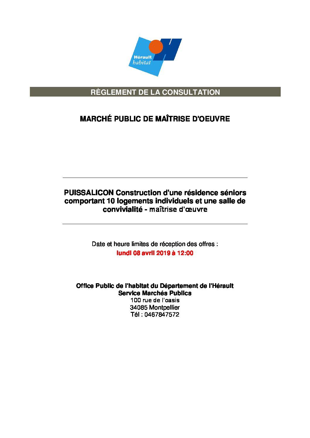 Marché public – Maîtrise d'oeuvre pour la construction d'une résidence seniors – Hérault Habitat