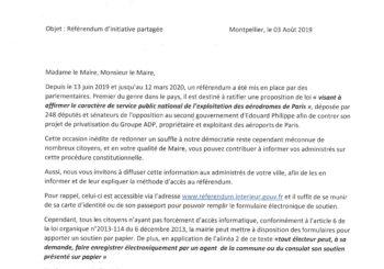 Courrier de l'Assemblée Nationale – référendum d'initiative partagée