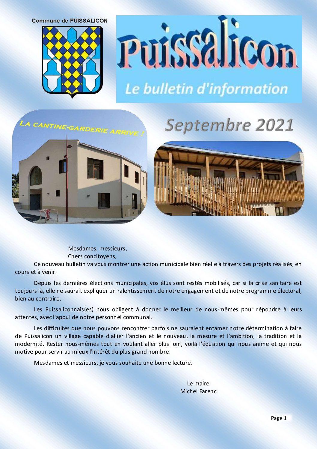 Bulletin municipal – Septembre 2021