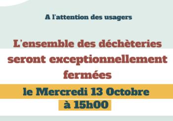 SICTOM   MERCREDI 13 OCTOBRE  à 15H00  déchèterie Magalas fermeture exceptionnelle.